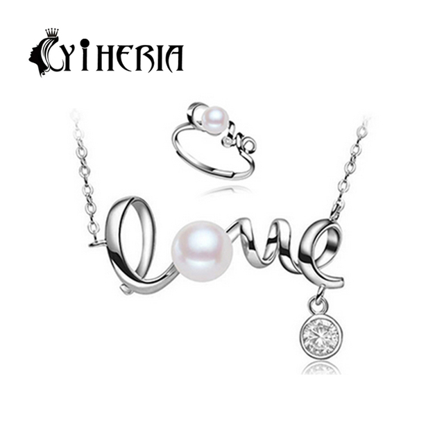 CYTHERIA Nice Freshwater Pearl Jewelry Sets 925 Sterling Silver pendant Necklace,Pearl  ring,Wedding Jewelry Sets