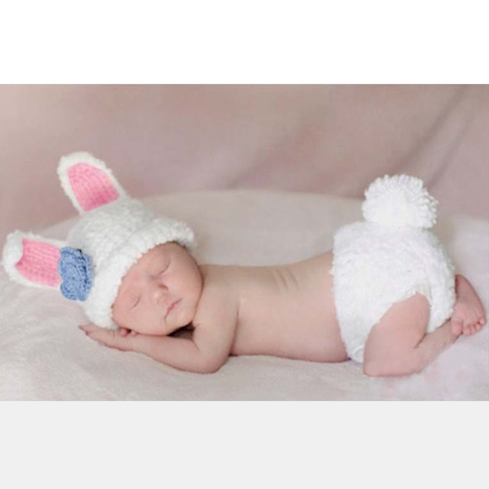 Cute Infant Baby Girls Clothing Set Knitted Rabbit Costume Soft Handmade Crochet Newborn Photography Props Photo 0-2 Month newborn crochet baby fox orange costume photography props knitting baby hat bow infant baby photo props