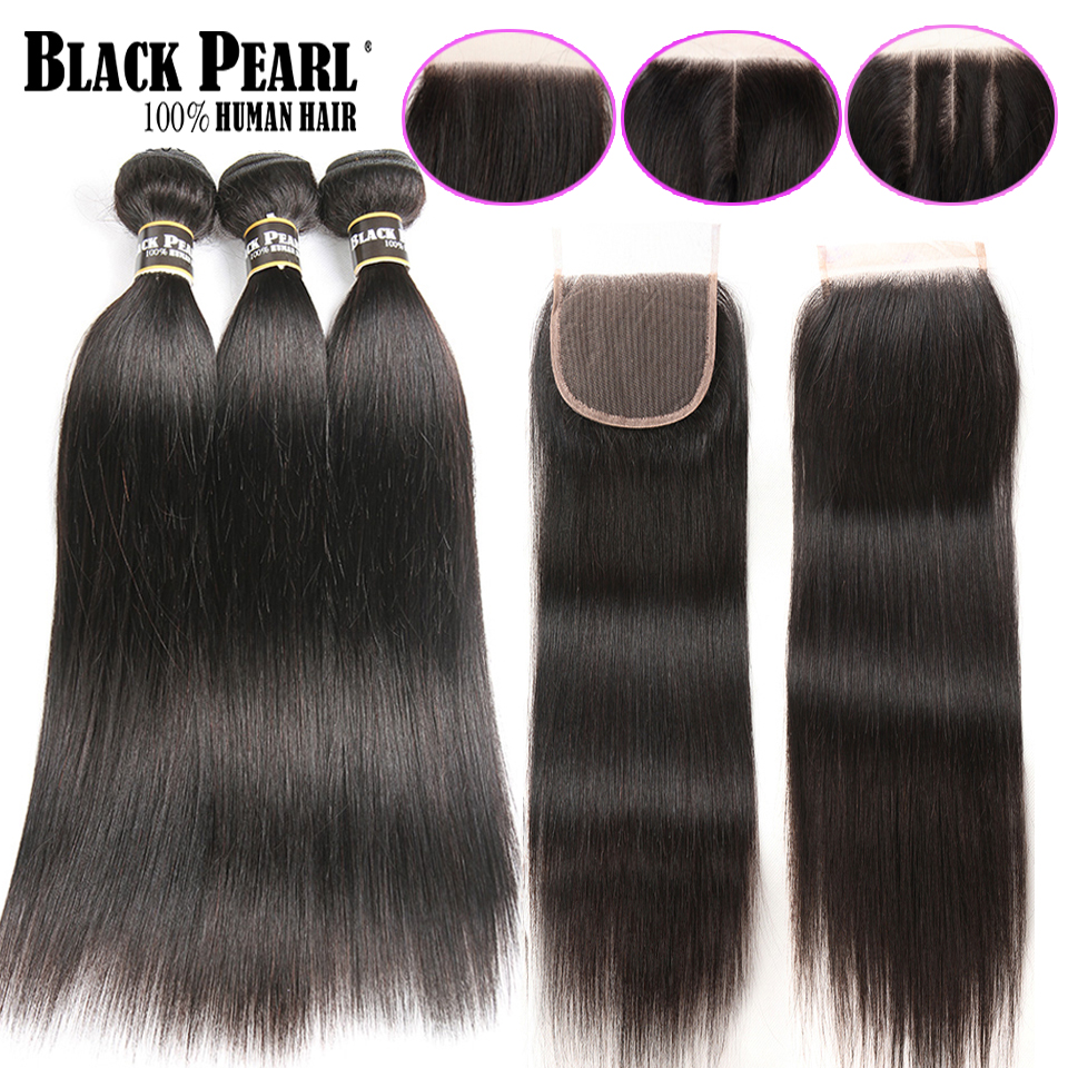 Black Pearl Pre Colored Straight Human Hair Bundles with Closure 3 Bundles with Closure Non remy