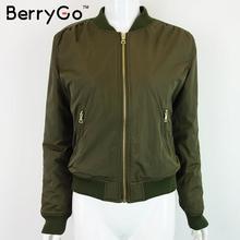 BerryGo Army Green bomber jacket