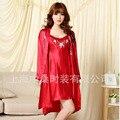 Twinset de Seda de Las Mujeres Chinas 2 UNID Bordar Flor Yukata Kaftan Robe Gown Con Cinturón Free SIze 060301