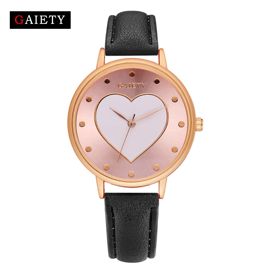 Luxury Brand Pink Gold loving heart Watch Women Fashion Casual Leather bracelet quartz dress Wrist watches Clock Gifts