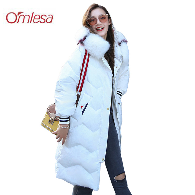 OMLESA 2018 зима лиса большой меховой воротник длинный пуховик Новинки для женщин Корейский толстый слой Модные пуховые куртки с капюшоном Для женщин ZB350