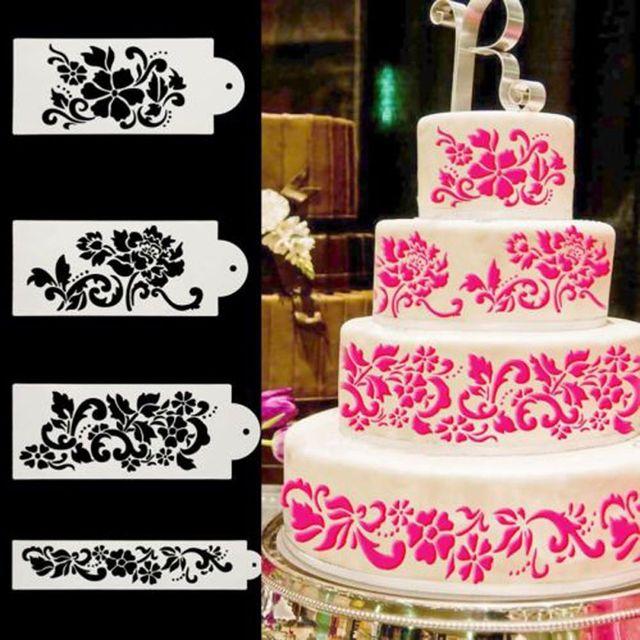 4Pcs/Set  Flower Damask Fondant Cake Stencil Mould Border Lace Decor Icing Sugarcraft Wedding Birhday DIY Decoration