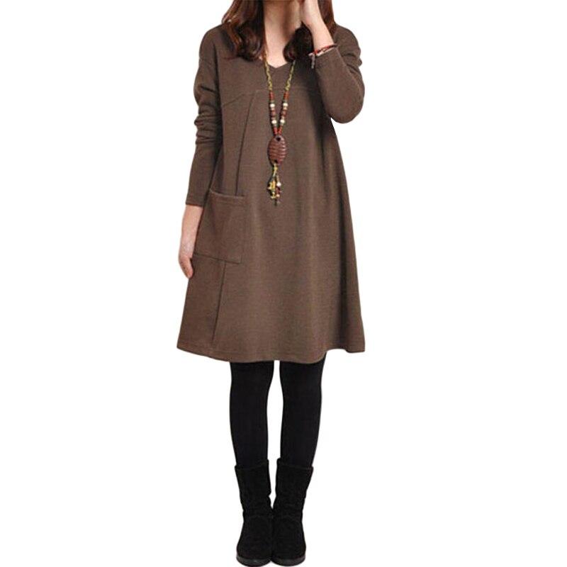 HTB1Es09QpXXXXa7XFXXq6xXFXXXR - 2018 Autumn Dress Women Winter Long Sleeve Pocket Dress Solid O Neck Casual Loose Party Dresses Fashion Vestidos Plus Size S-5XL