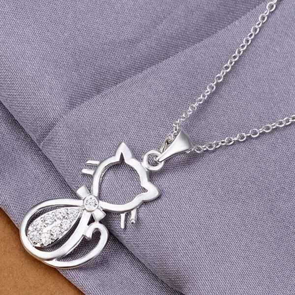 f8f0e1e3a1c7 925 bijoux bijoux collier pendentifs chaînes, 925 bijoux argent plaqué  collier Kitten incrustés de pierres collier bozc qjnx