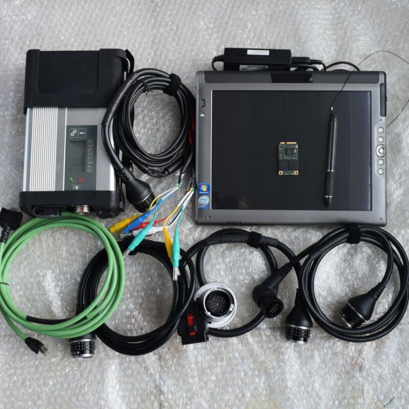 mb star c5 ssd laptop le1700 tablet touch scrren PC software latest version diagnostic scanner for cars trucks 12v 24v