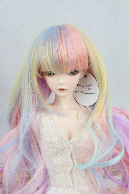 Wholesale BJD / SD doll wig high temperature wire hair long curly hair color gradation 1/3 1/4 1/6