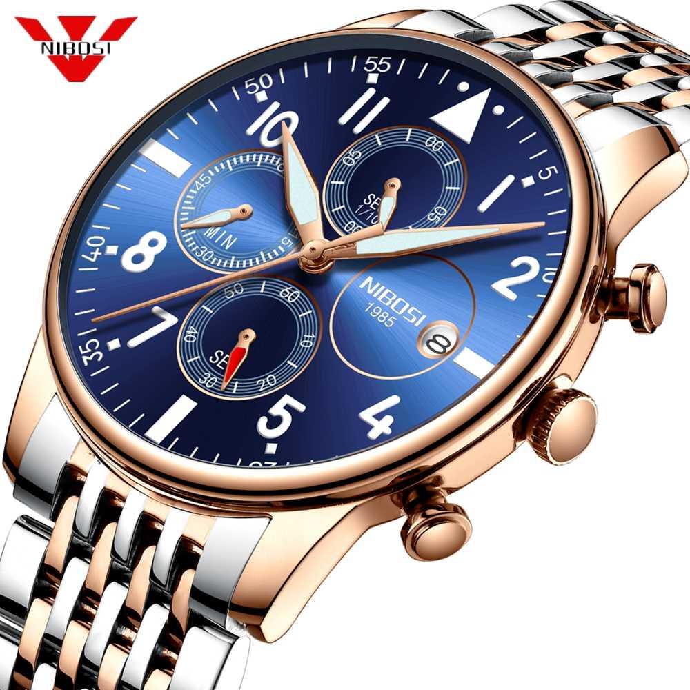 メンズ腕時計 NIBOSI 防水クォーツビジネスメンズ腕時計トップブランドの高級時計カジュアル軍事スポーツ腕時計レロジオ Masculino