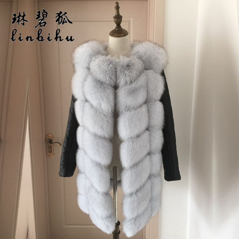 Women Real Fox Fur Coat With Detachable Genuine Sheepskin Sleeves Fur Jacket Thick Ladies Fashion Winter Warm Fox Fur Coats