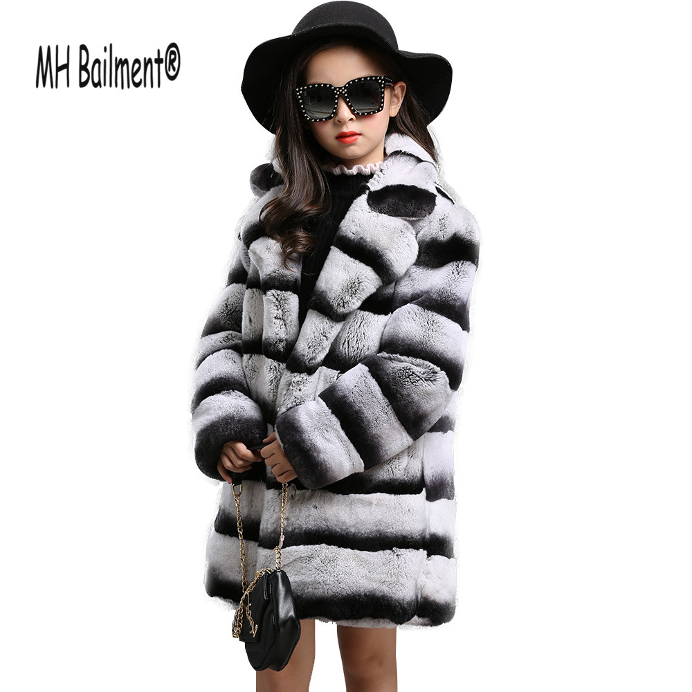 Children Rex Real Rabbit Fur Coat Autumn Winter Girls Real Fur Coats Long style thick Outwear Jacket Lovely Kids Fur Clothing down winter jacket for girls thickening long coats big children s clothing 2017 girl s jacket outwear 5 14 year