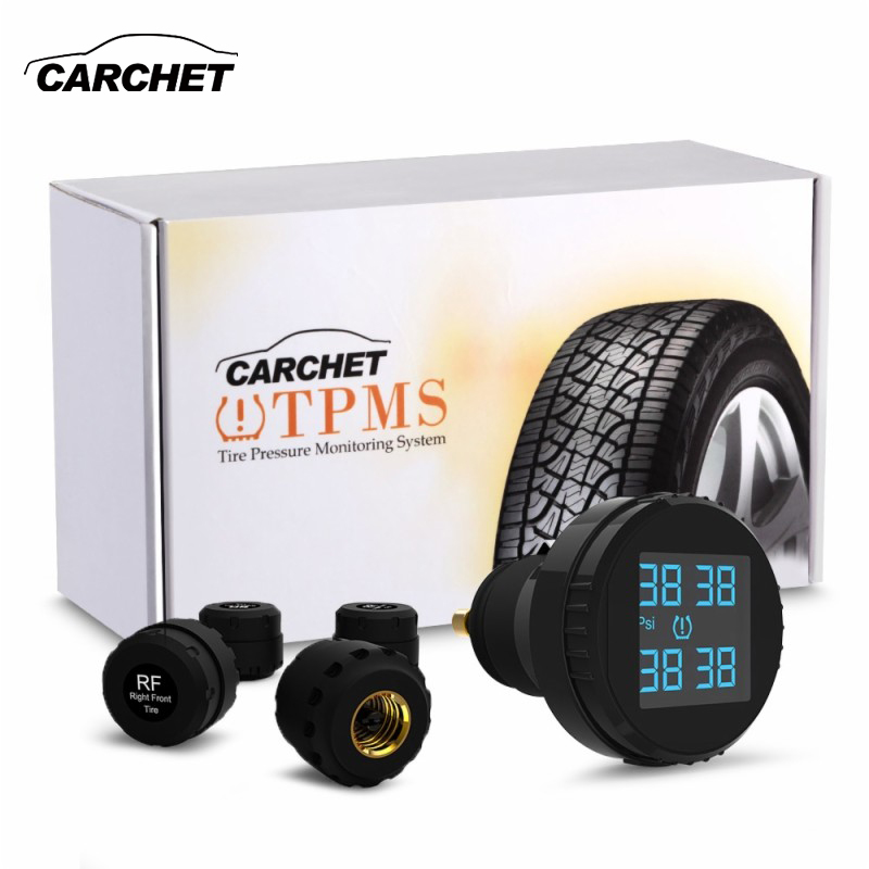 CARCHET Tire Pressure Wireless Car Smart TPMS LCD Screen 4 Sensors Cigarette Lighter Real Time tpms Car Detector Diagnostic-tool