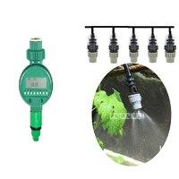 新しい水灌漑タイマー制御スプリンクラー散水キット時限屋外ガーデン自動ドリップ灌漑マイクロスプレー冷却セッ