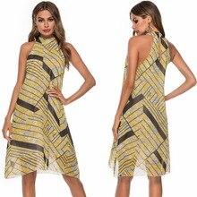 Women Summer Boho Dress Sexy Sleeveless Bohemian Slim Print Chiffon Beach Sundress Vestidos