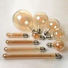 2 Вт 4 Вт 6 Вт 8 Вт Античный Ретро винтажный светодиодный светильник Эдисона E27/E14 Светодиодный светильник накаливания G80 G95 ST64 Янтарное стекло Bombillas лампа