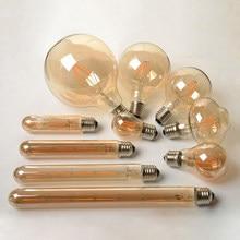 2w 4 6 8 antigo retro vintage led edison lâmpada e27/e14 led filamento lâmpada g80 g95 st64 vidro âmbar bombillas lâmpada