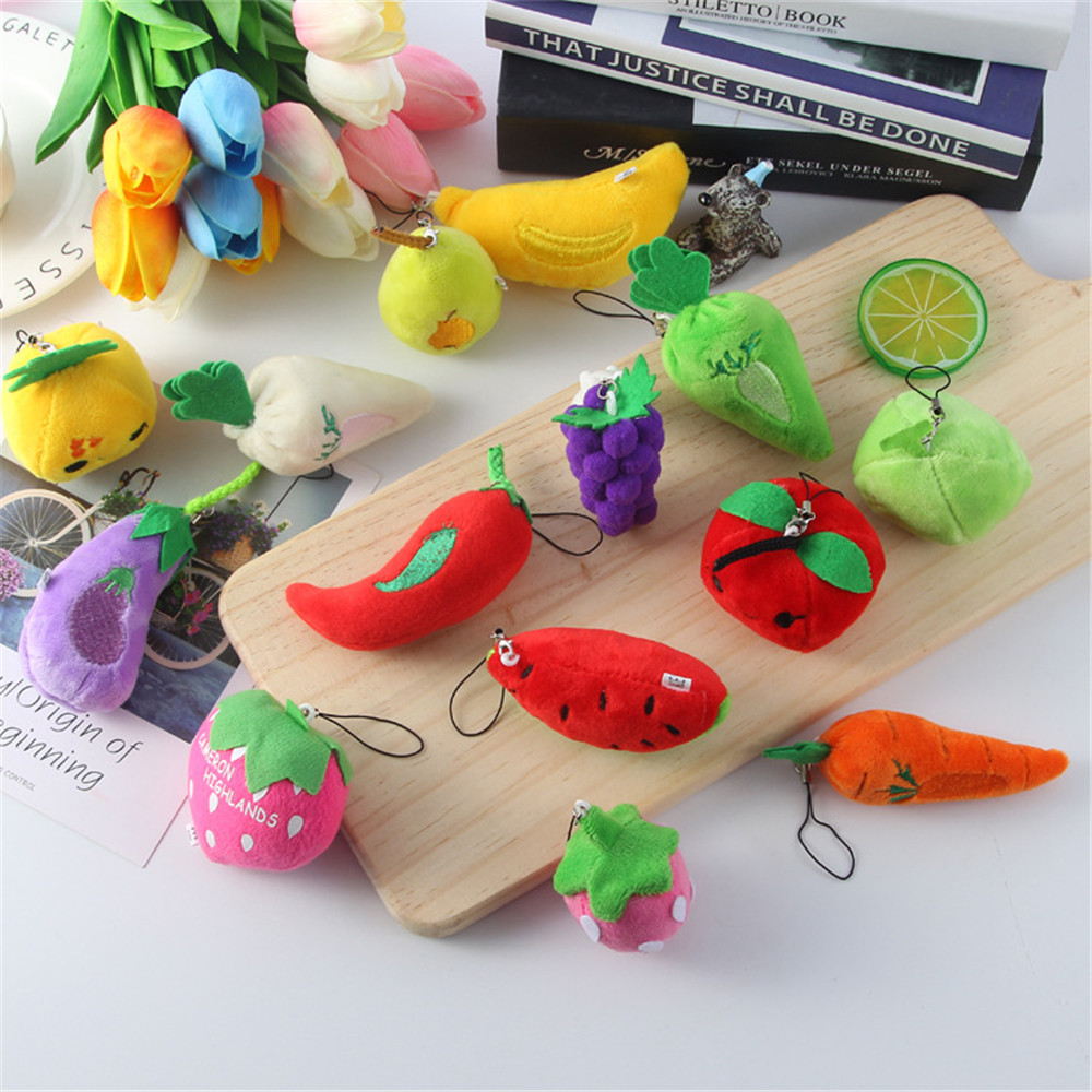 1Pc Lovely Fruit  Vegetables Plush Dolls Pendant Cute Fruit Plush Keychains Stuffed Doll Key Chain Toys Christmas Gifts