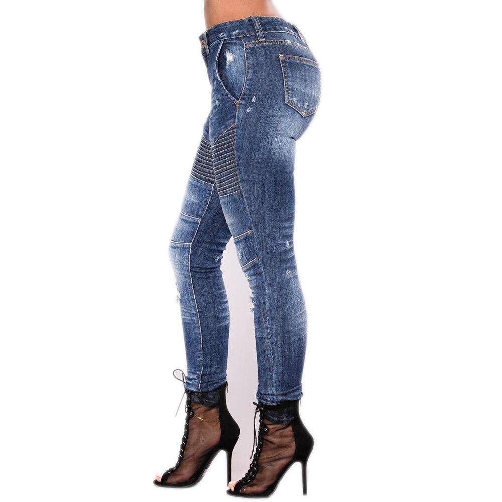Новая мотоциклетная обувь джинсы Высокая Талия повседневные штаны узкие Мотокросс по бездорожью Для женщин джинсовые штаны стрейч тонкий ...
