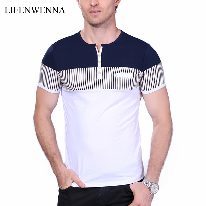 New Fashion Men's T Shirt Summer O-Neck Short Sleeve Stripe T-Shirt Mens Clothing Trend Casual Slim Fit Buttons Top Tees 5XL