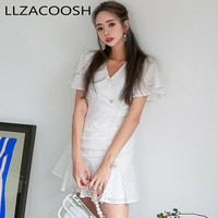 Elegant V Neck ruffle white women dress Embroidery high waist summer dress Vintage casual single breasted short party dresses