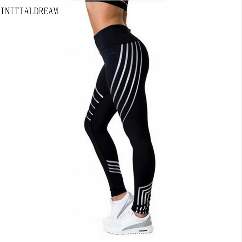 INITIALDREAM 2019 Fashion Women Leggings Slim High Waist Elasticity Leggings Fitness Printing Leggins Breathable Woman Pants