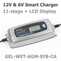 FOXSUR 12V 4A 6V 1A 11 Stage Smart Battery Charger Toy Car AGM GEL WET EFB