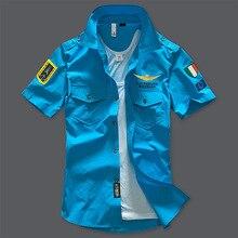 2017 NEW shirts Fashion airforce uniform military short sleeve men's dress Casual Shirts Aeronautica Militare