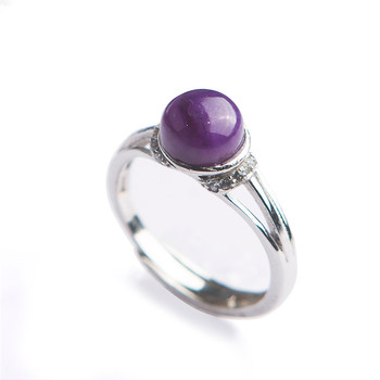 Adjuestable South Africa Genuine Natural sugilite Gems Purple Crystal Beads Fashion Women Stering Sliver Ring 7*7mm