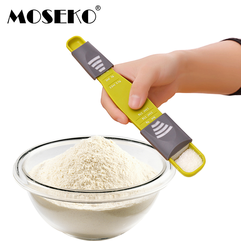 MOSEKO 1PC High Quality Measuring Spoons Double End Eight Stalls Adjustable Scale Metering Spoon Baking Kitchen Tools