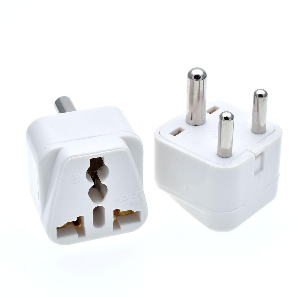 2PC White Black S.Africa Converter AU UK US EU To Small South Africa Plug AC Power Outlet Adapter Socket Nepal India Sri Lanka