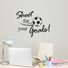 Free Shipping Football Style Art Decor Wall Sticker Shoot For Your Goal Quotes Decal Vinyl Removab Wallpaper Y-572