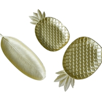 Nordic Golden Pineapple Dessert Fruit Plate Fashion Geometry Table Candy Wooden Storage Plate Pineapple Leaf Decor Plate R1622