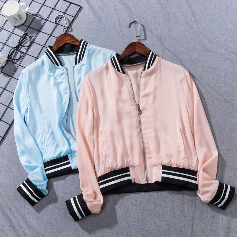 La nouvelle mode Coréenne collier de mode, pur couleur satin casual Baseball Veste veste.