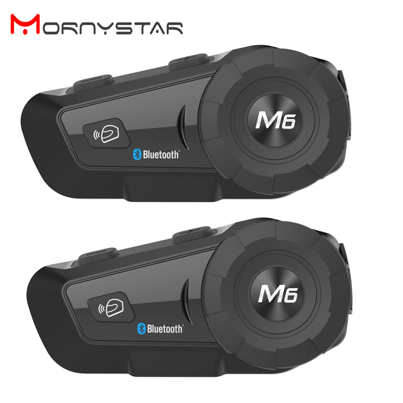 2PCS MONYSTAR M6 Motorcycle Bluetooth Helmet Headsets Intercom For FM BT Wireless Intercomunicador Interphone MP3