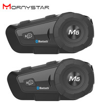 2 uds. MONYSTAR M6 Plus 1000m casco con Bluetooth para motocicleta intercomunicador inalámbrico FM BT intercomunicador MP3(China)