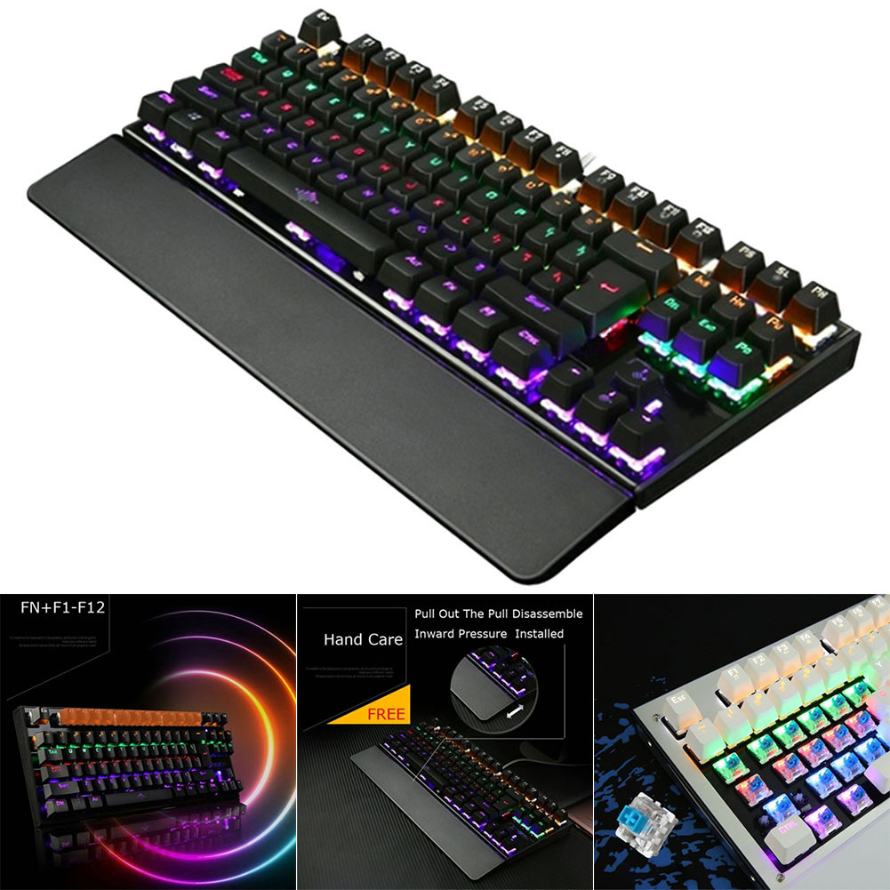 Gaming Mechanical Keyboard Backlit USB Wired 26 Keys Anti-ghosting Game Keyboard HJ55