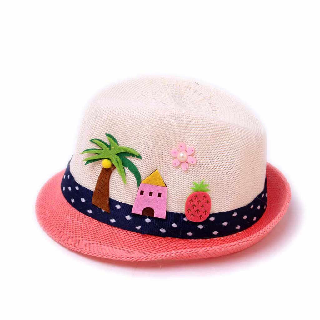 XYCXBM Summer Kids Floral Straw Hats Fedora Hat Children Visor Beach Sun Baby Girls Sunhat Wide Brim Floppy Panama for Girl