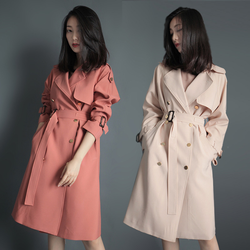 2018 Spring Autumn Korean New temperament slim trench coats female casual loose windbreakers women double-breasted long overcoat