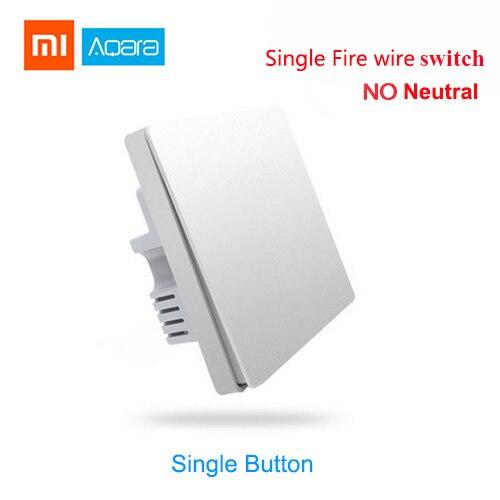 Xiaomi Aqara Smart home Light Control without neutral Single Fire wire zero  line ZigBee Wireless Key Wall Switch Remote