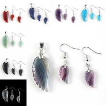 UMY New Design Multi Style Quartz Stone Wing of Angel Pendant Drop Earrings Fashion Jewelry Sets