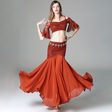 Good Sale Belly Dance Suit For Ladies Burgundy Color Tops+Skirt Set Fantasia Women Chacha Ballroom Stage Exhibit Costumes W1198