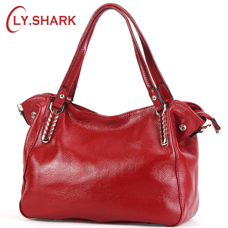LY.SHARK Fashion Genuine Leather Bag Female Shoulder Bag Designer Handbags High Quality Women Bags Crossbody Messenger Bag Tote fashion women genuine leather handbags large capacity tote bag oil wax leather shoulder bag crossbody bags for women
