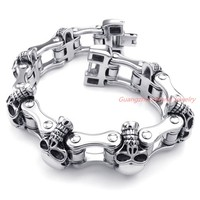 Best Casting Punk Gift 316L Stainless Steel Silver Skull Skeleton Biker Jewelry Mens Branelets Bangle Cool Jewelry High Quality