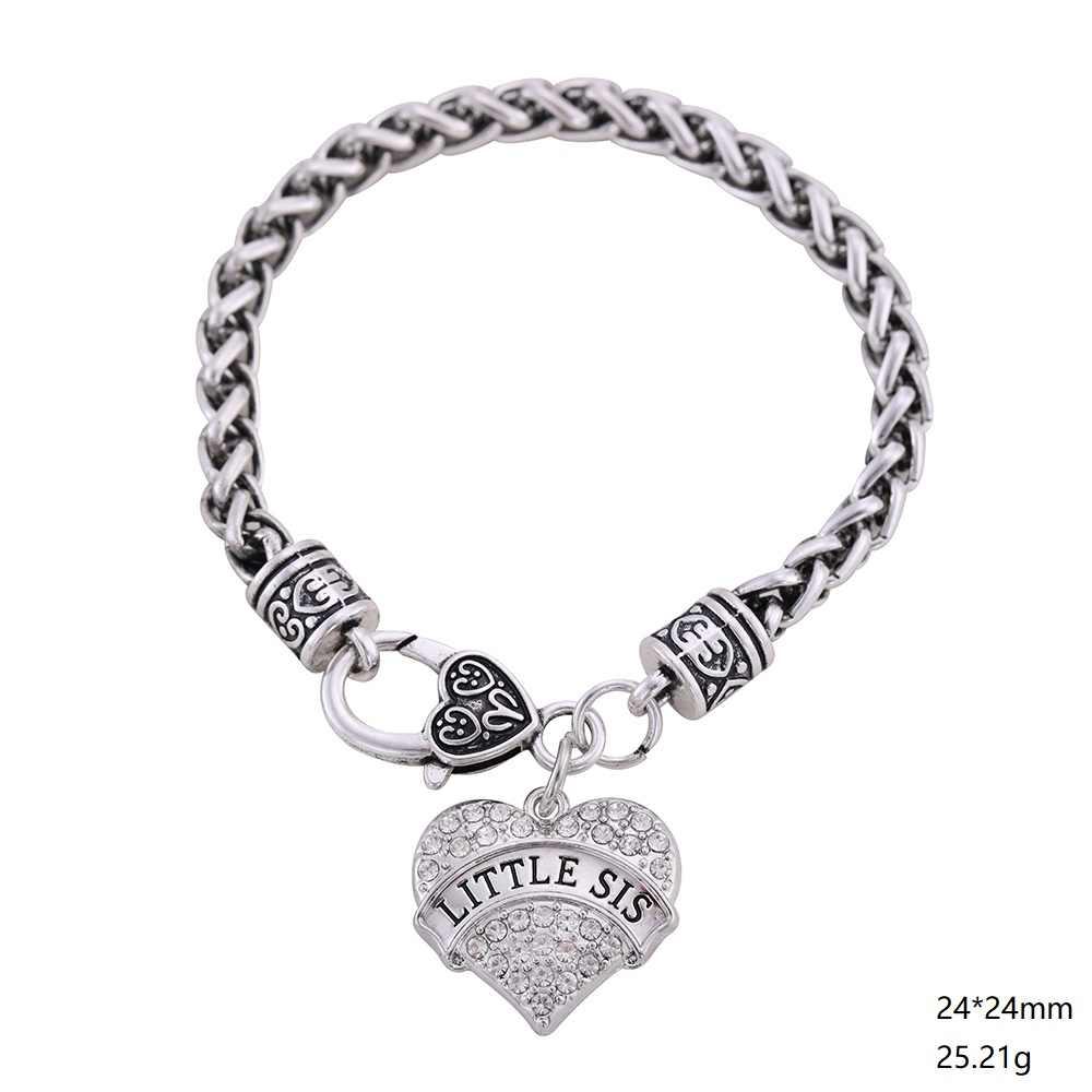 Myshape Kleine Schwester Kristall Herz Schmuck Set Strass Liebe Form Halskette Armband Ohrringe Sets Schwester Schmuck Frauen