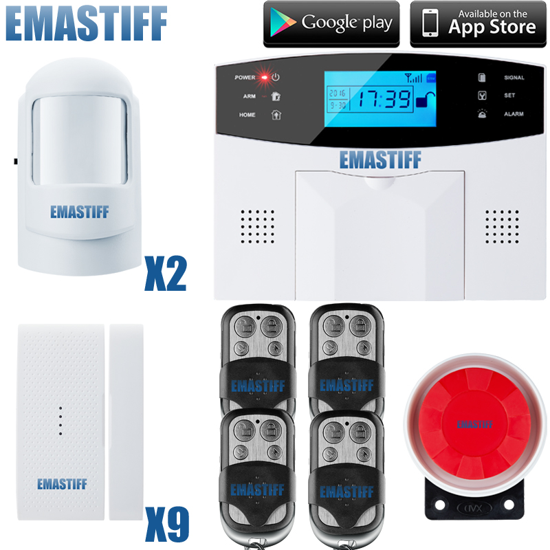 GSM SMS Home Burglar Security Gsm Alarm System Detector Sensor Kit Remote Control English/ Russian/French/ Spanish lanuage gsm lcd wireless 433 smart burglar security alarm system detector sensor kit remote control auto dial sms outdoor siren