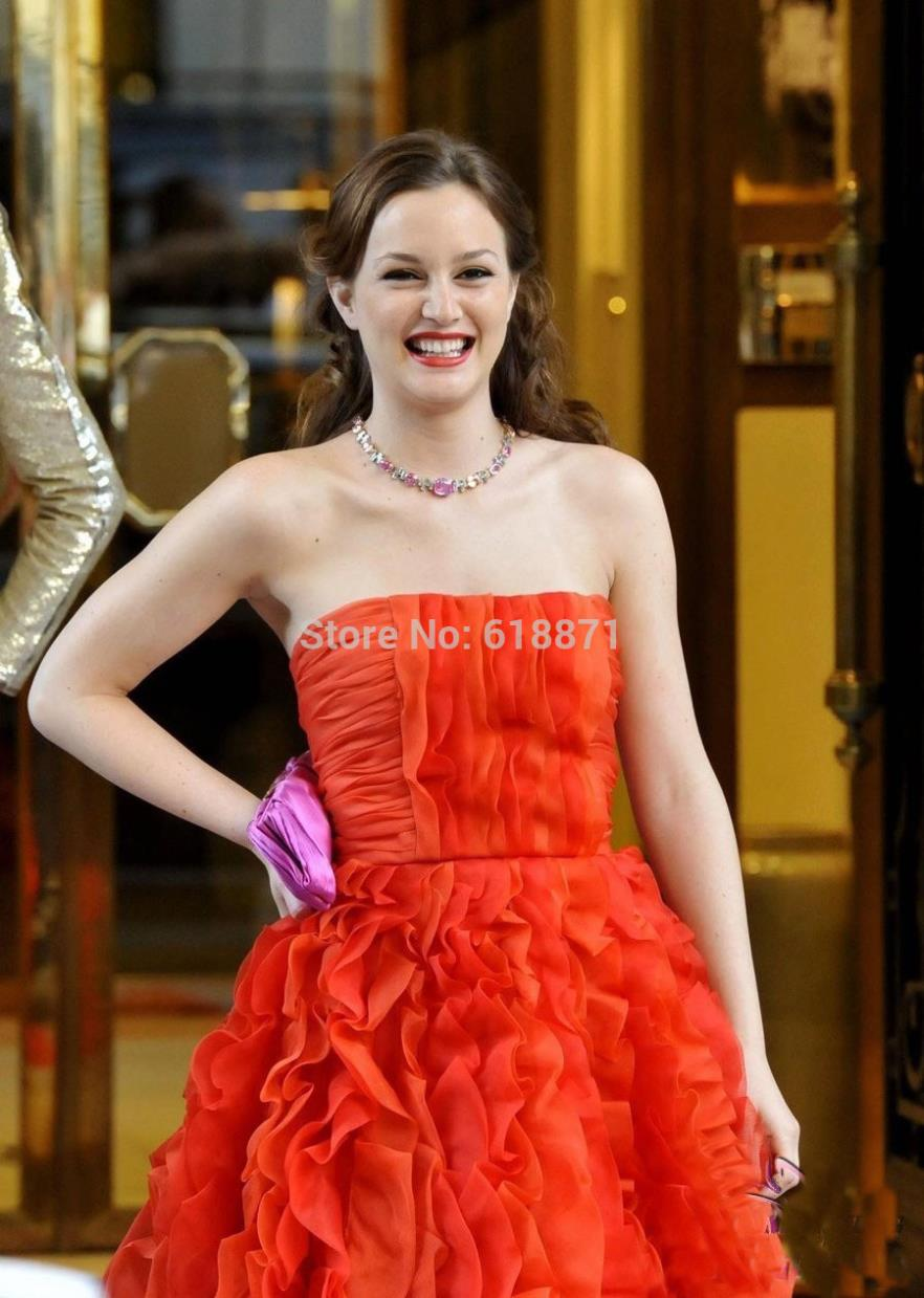 Leighton meester red prom dress evening gown in gossip girl 5