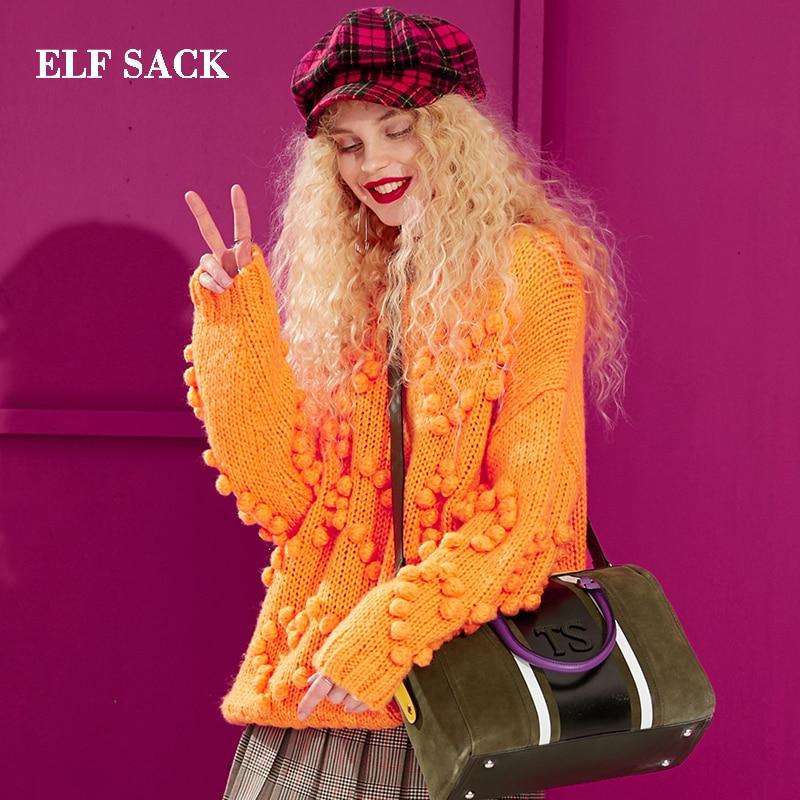 ELF worek zima nowa kobieta sweter stałe O Neck pełna fioletowy swetry damskie Casual Streetwear ponadgabarytowych swetry Femme topy w Pulowery od Odzież damska na  Grupa 1