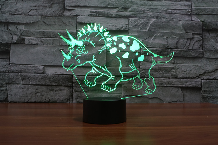 Dinosaur Acrylic 3D Optical Illusion Night Light, 7 Colors LED Triceratops Night Light,Table lamp, Home Decoration for Kids Gift цена и фото