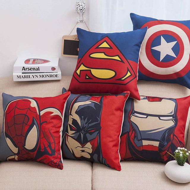 Super Heroes Spiderman Ironman Superman Sofa Kussensloop Cover De Avengers logo bureaustoel Zetel Captain Amerika Kussenhoes