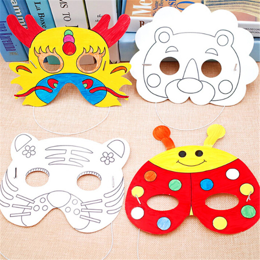 Kids Diy Color Cartoon Animal Painting Mask Kindergarten Preschool